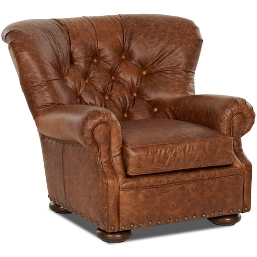 Klaussner Aspen Tufted Leather Wing Back Chair with Large Nailheads