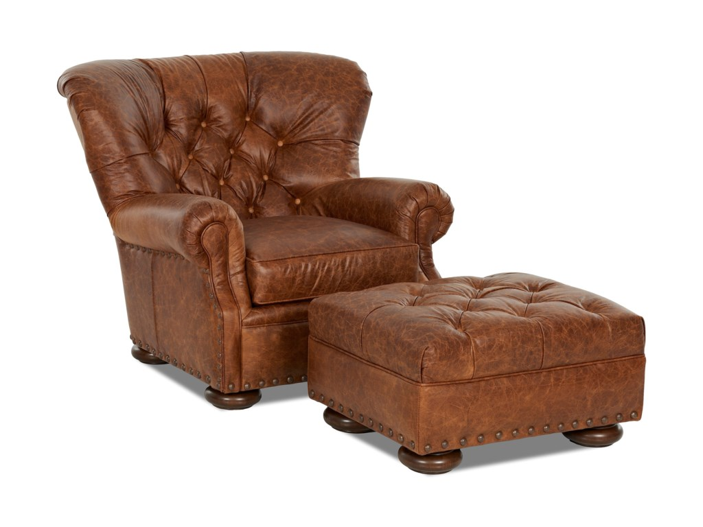 Aspen Tufted Leather Wing Back Chair With Large Nailheads By Elliston Place