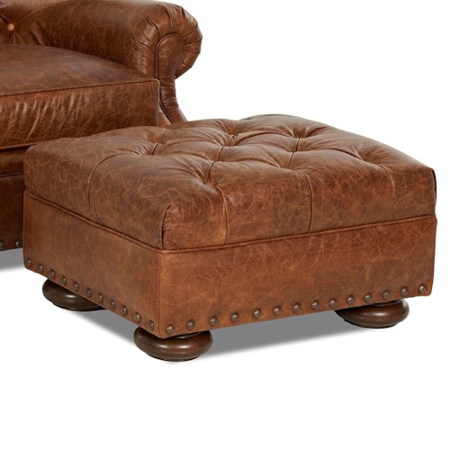 Klaussner Aspen Tufted Leather Ottoman with Large Nailheads