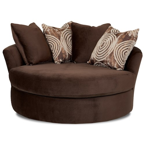 Klaussner Athena Athena Oversized Swivel Chair with Scattered Back Pillows