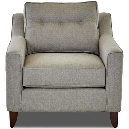 Klaussner Audrina Mid-Century Modern Style Arm Chair with Tufted Cushion