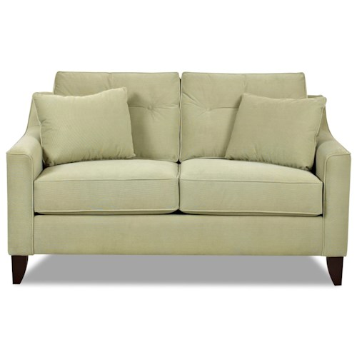 Klaussner Audrina Mid-Century Modern Style Loveseat with Tufted Cushions