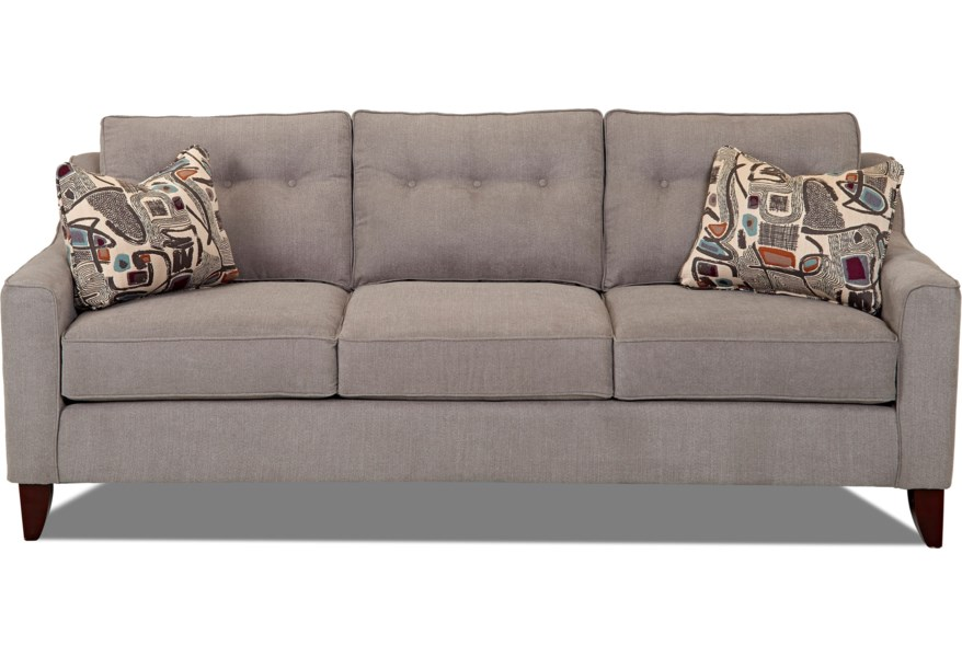Audrina Mid-Century Modern Style Sofa with Tufted Cushions by Klaussner at  Dunk & Bright Furniture