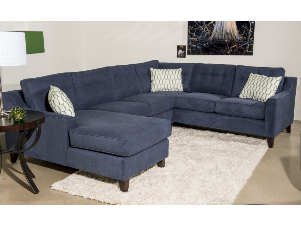 Klaussner Audrina Contemporary 3 Piece Sectional Sofa with Chaise ...