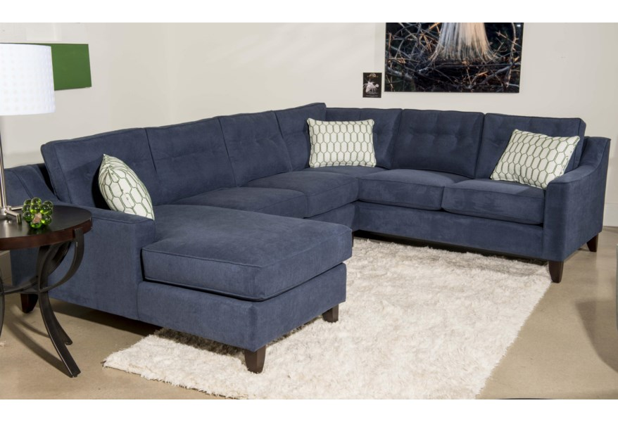 Klaussner Audrina Contemporary 3 Piece Sectional Sofa with ...