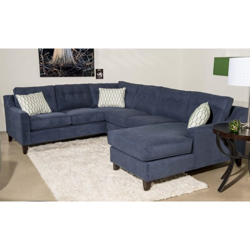 Klaussner audrina contemporary 3 piece sectional sofa with for 3 piece sectional with chaise