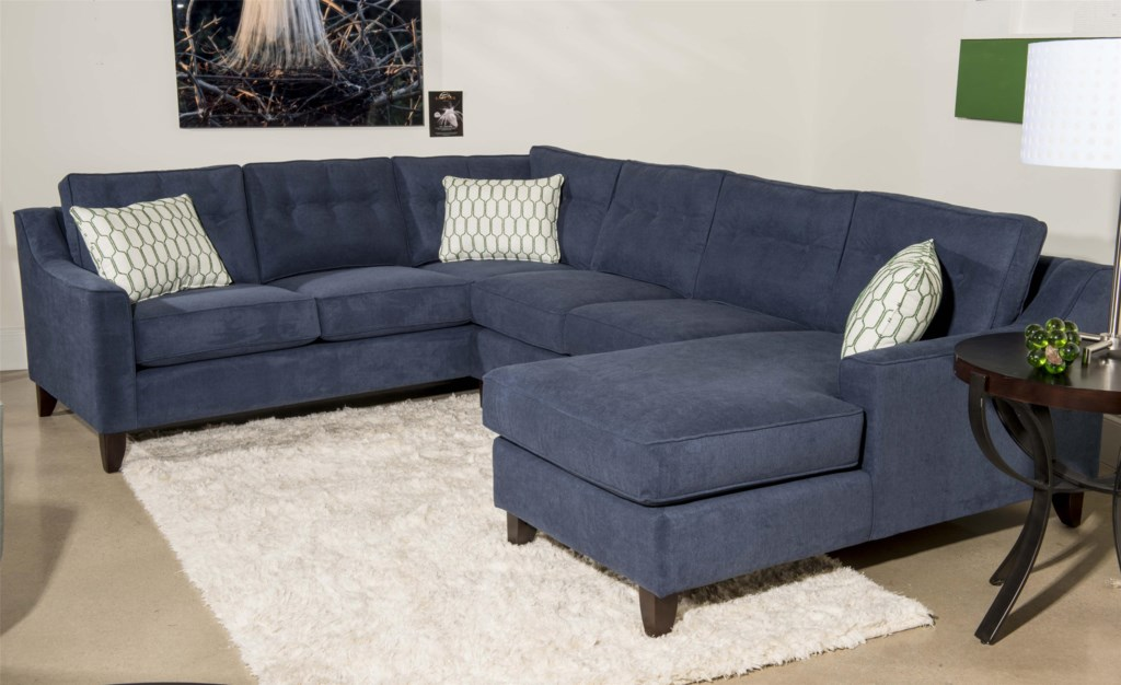 Klaussner Audrina Contemporary 3 Piece Sectional Sofa With Chaise  ~ Contemporary Chaise Sofa