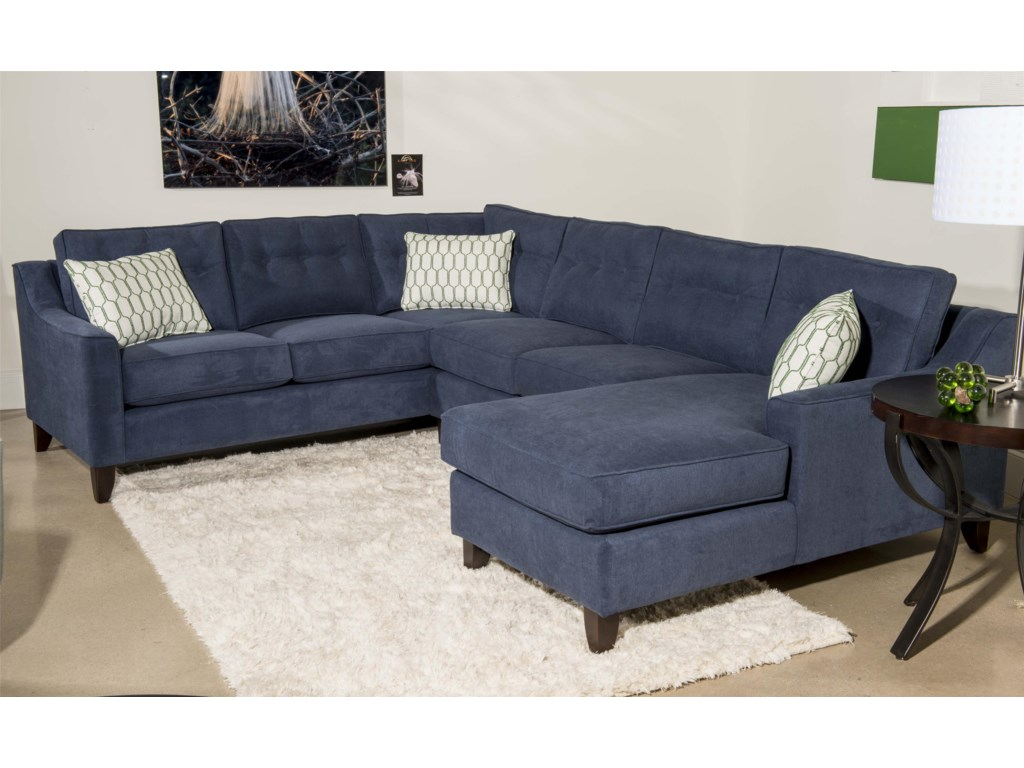 Klaussner Audrina Contemporary 3 Piece Sectional Sofa With Chaise