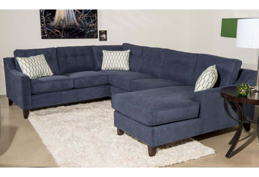 Audrina Contemporary 3 Piece Sectional Sofa with Chaise by Klaussner at  Dunk & Bright Furniture