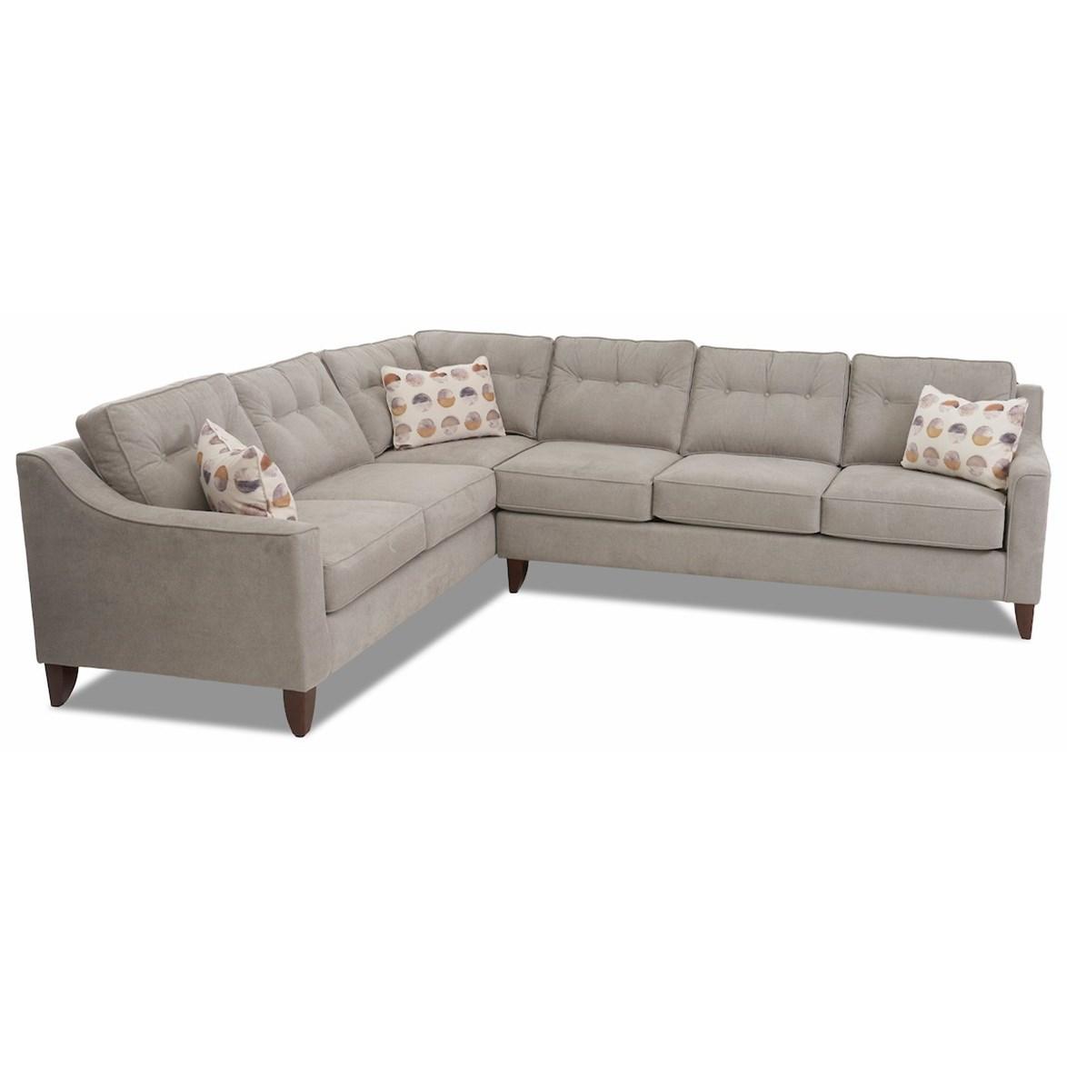 Mid Century Modern  2-Piece Sectional Sofa w/ LAF Corner Sofa