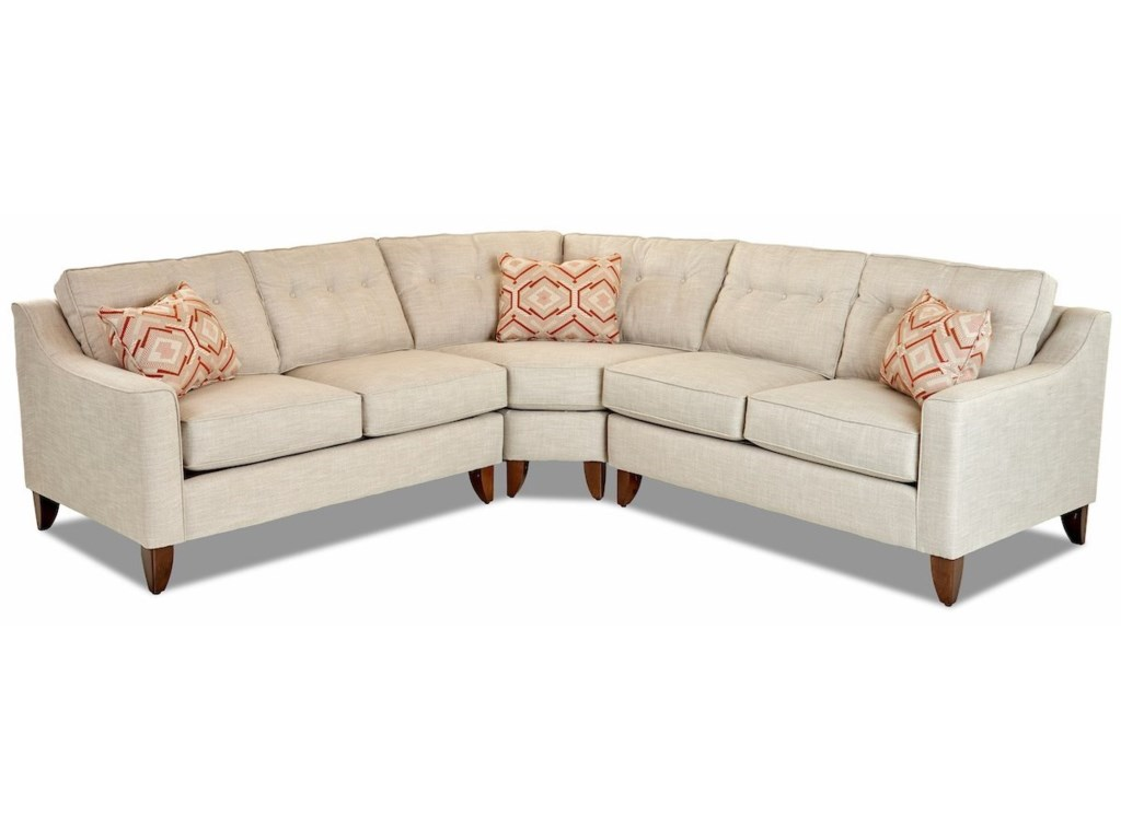 Klaussner Audrina3 Piece Sectional with Wedge