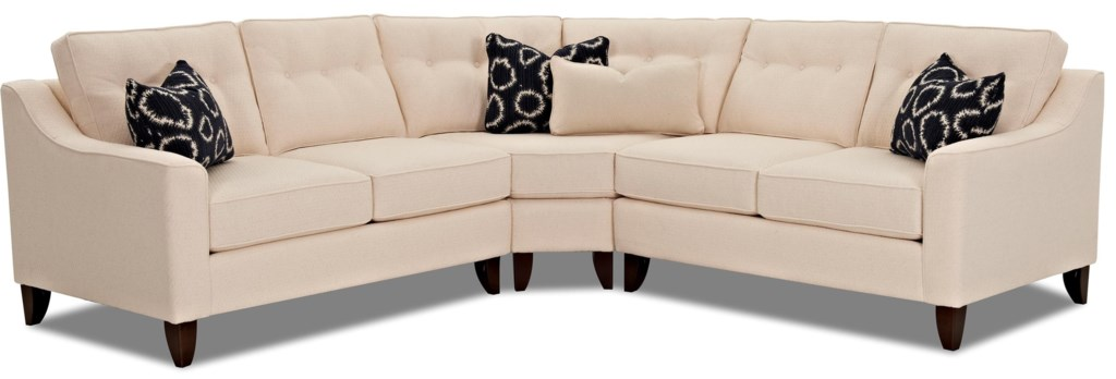 Klaussner Audrina Contemporary 3 Piece Sectional With Wedge Corner