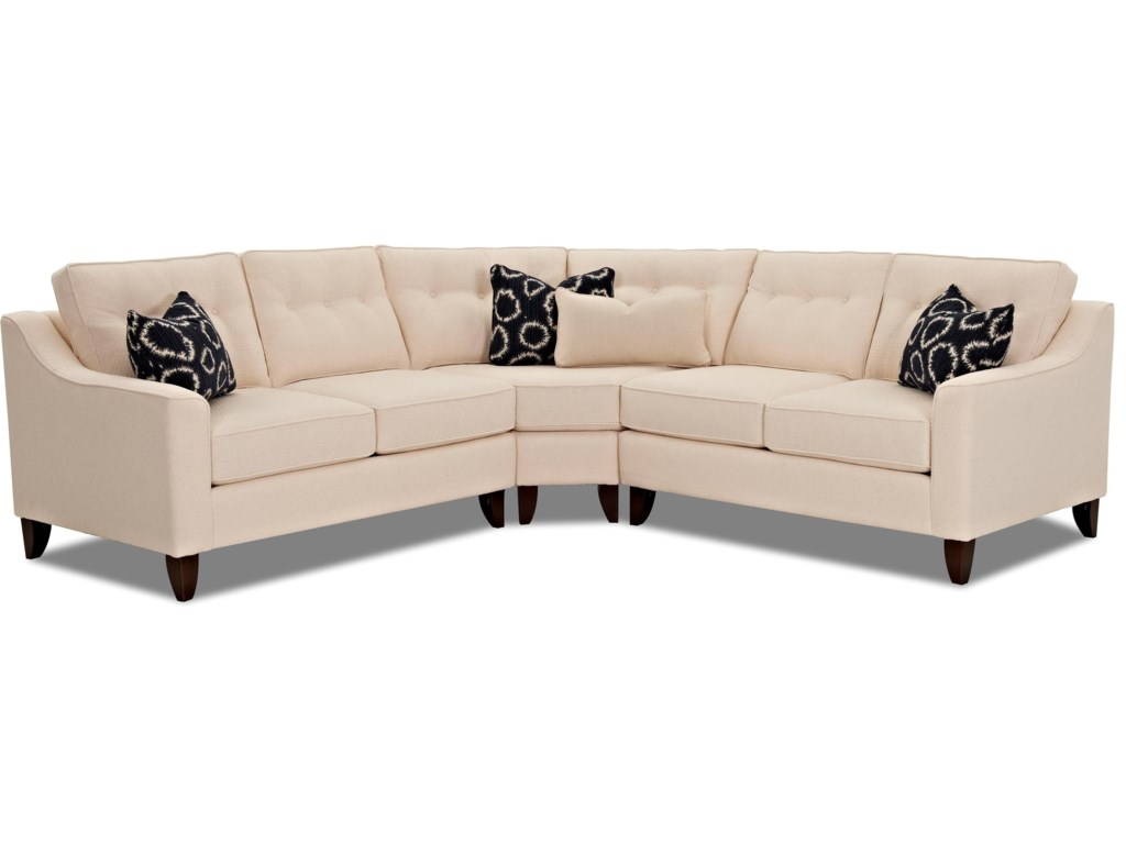 Audrina Contemporary 3 Piece Sectional with Wedge by Klaussner at Corner  Furniture