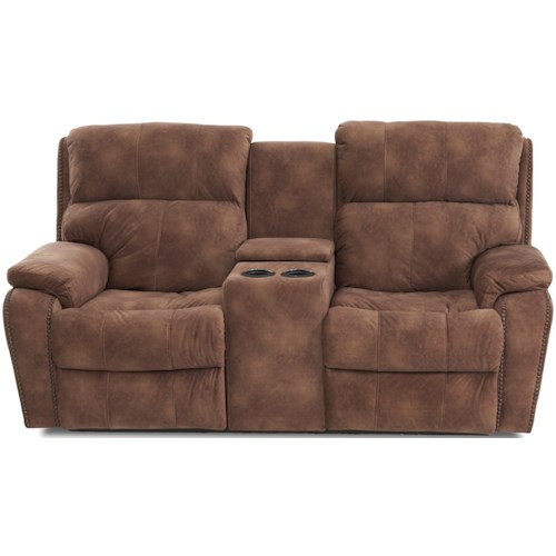 Klaussner Averett Casual Console Power Reclining Loveseat with Nails, Power Headrests & Lumbar, USB Charging Ports
