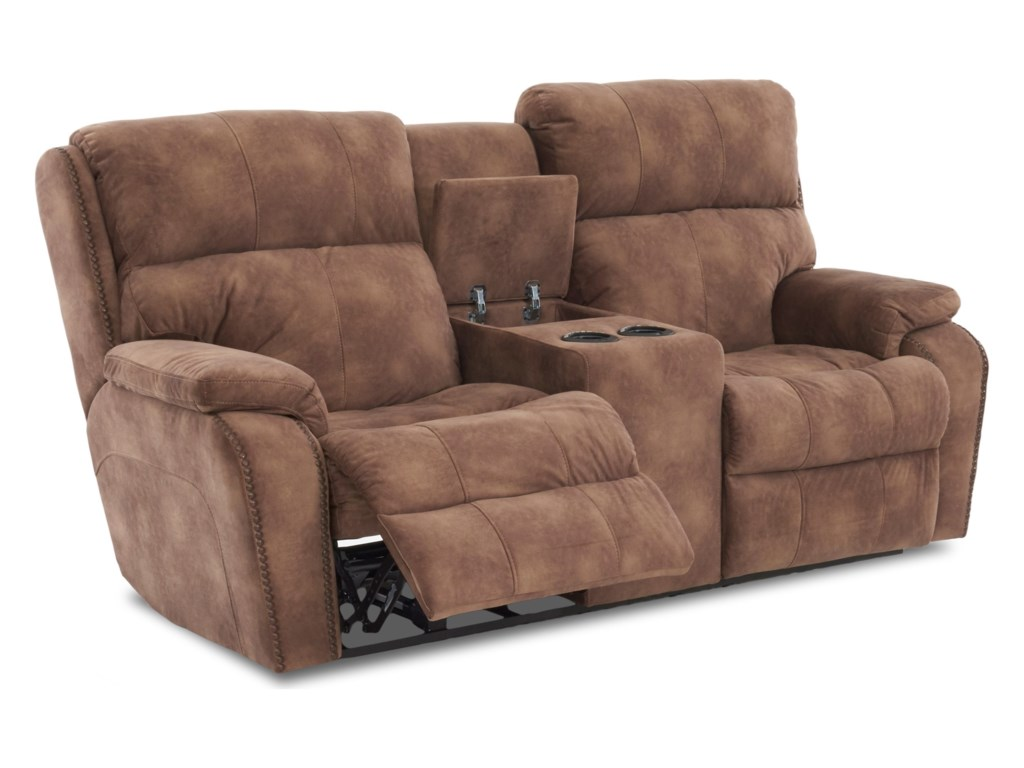 Klaussner AverettConsole Reclining Loveseat w/ Nails