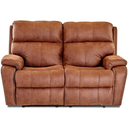 Klaussner Averett Casual Power Reclining Loveseat with Nails, Power Head & Lumbar, USB Charging Ports