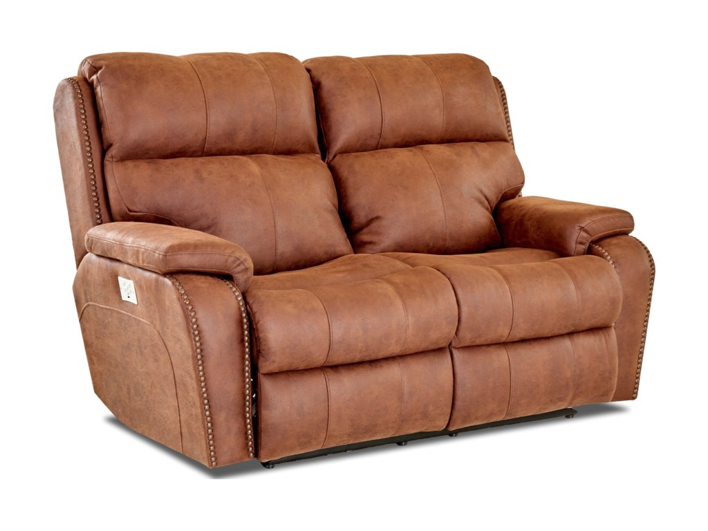 Klaussner AverettPower Reclining Loveseat w/ Nails & Pwr Head