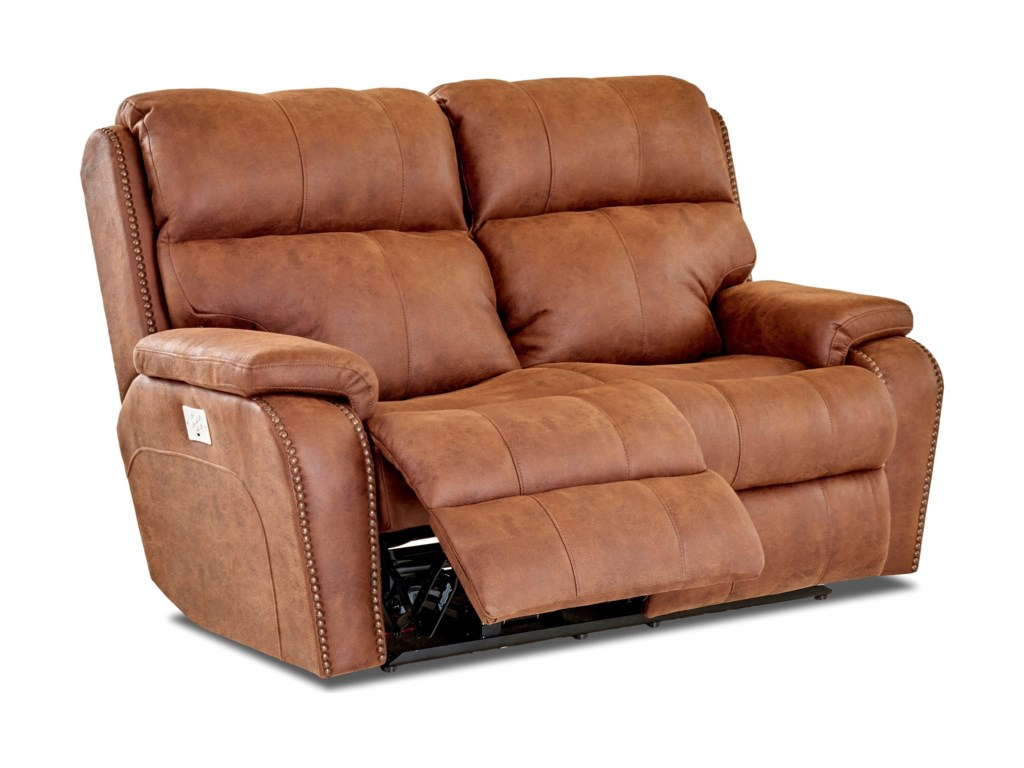 Klaussner AverettPower Reclining Loveseat w/ Nails