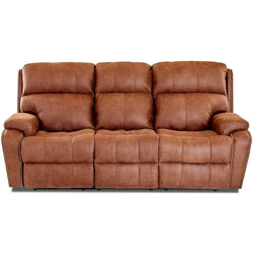 Klaussner Averett Casual Reclining Sofa with Nails