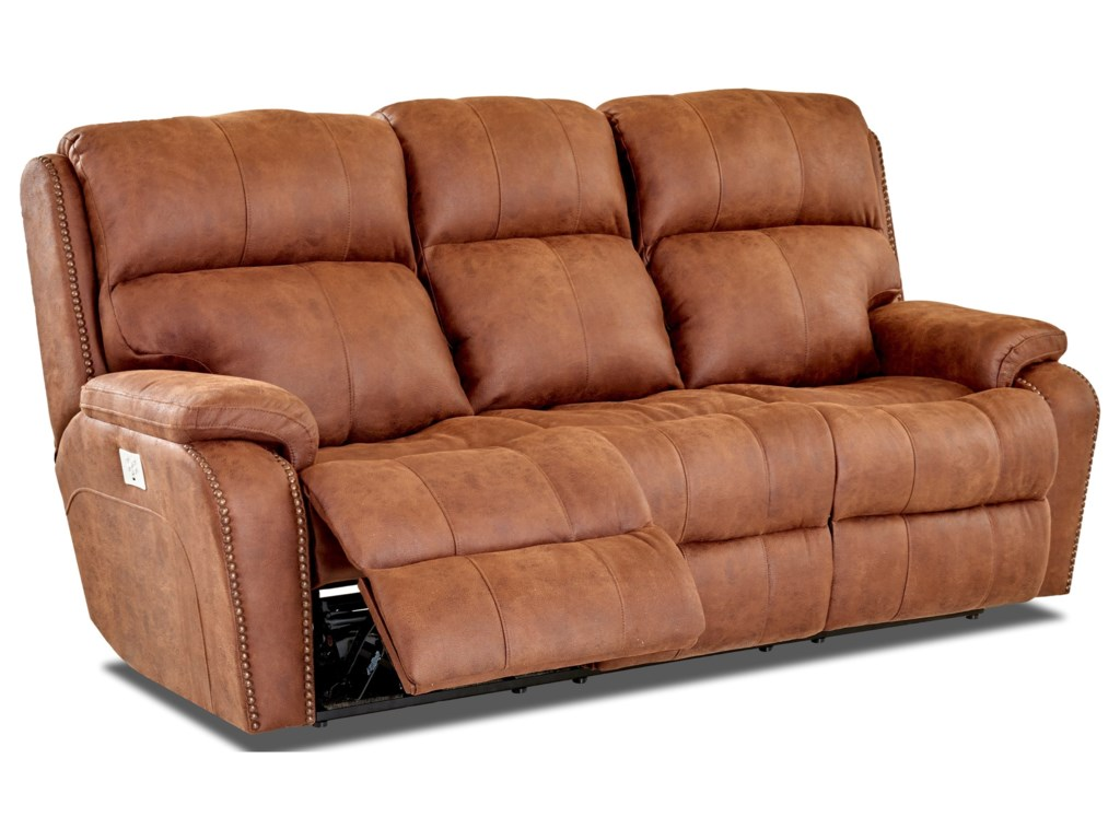 Simple Elegance AverettPower Recline Sofa w/ Nails & Pwr Head & Lum