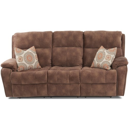 Klaussner Averett Casual Reclining Sofa with Nails and Toss Pillows