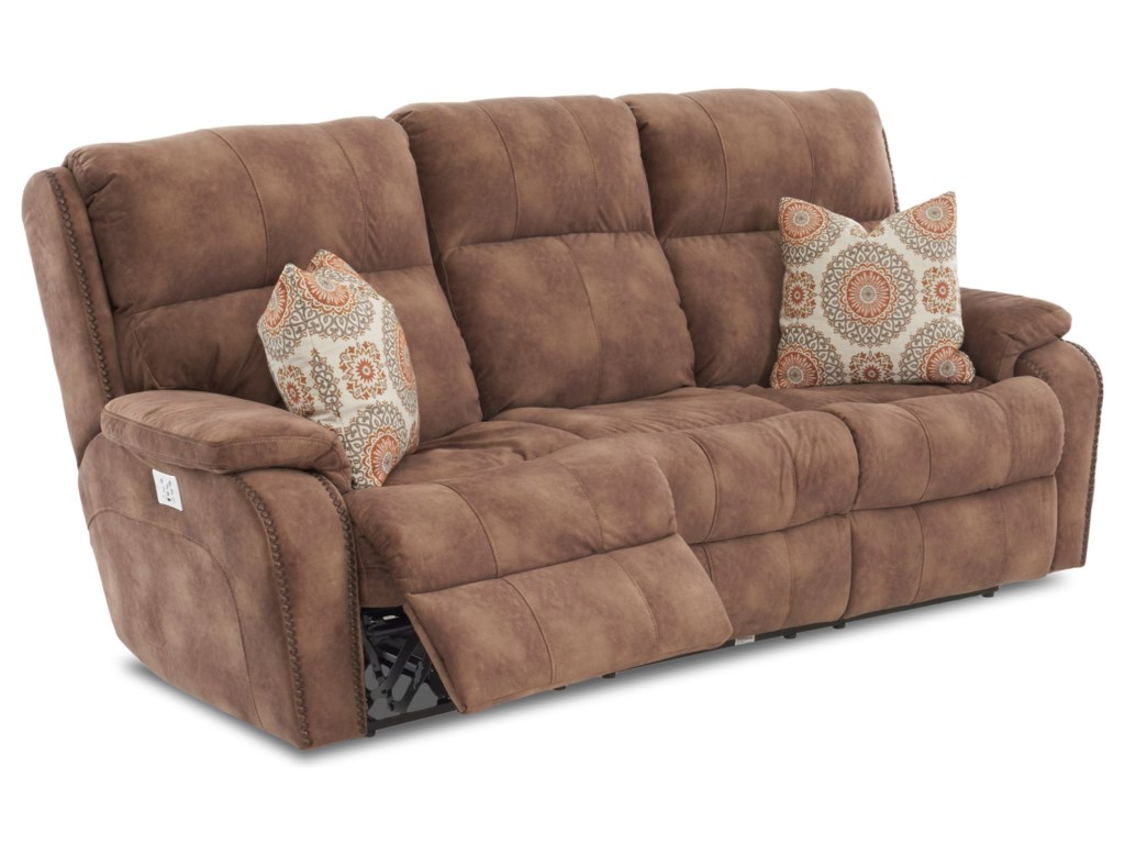 Klaussner AverettReclining Sofa w/ Nails & Pillows