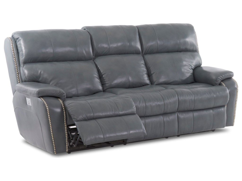 Simple Elegance AverettPower Reclining Sofa w/ Nails & Pwr Head