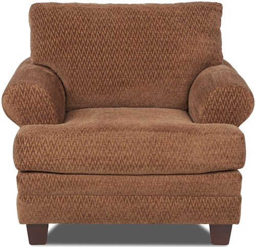 Klaussner Avery Casual Upholstered Chair with Attached Back Pillows