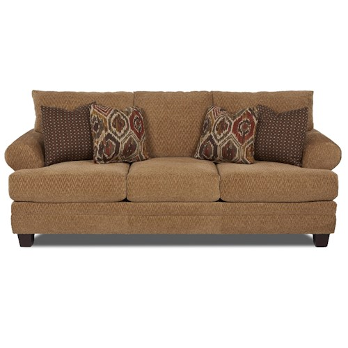 Klaussner Avery Casual Sofa with Attached Back Pillows and Exposed Wood Block Legs
