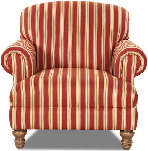 Klaussner Bailey Traditional Chair with Rolled Arms and Turned Feet