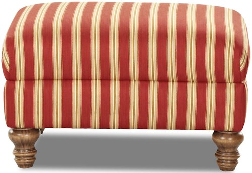 Klaussner Bailey Traditioanl Ottoman with Turned Wood Feet