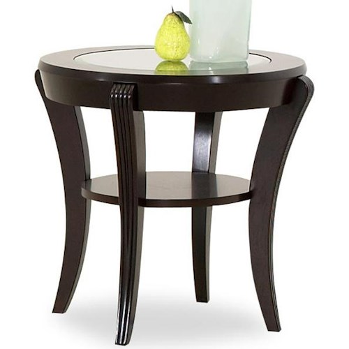 Klaussner International Bandero Oval End Table with Inlaid Glass Top