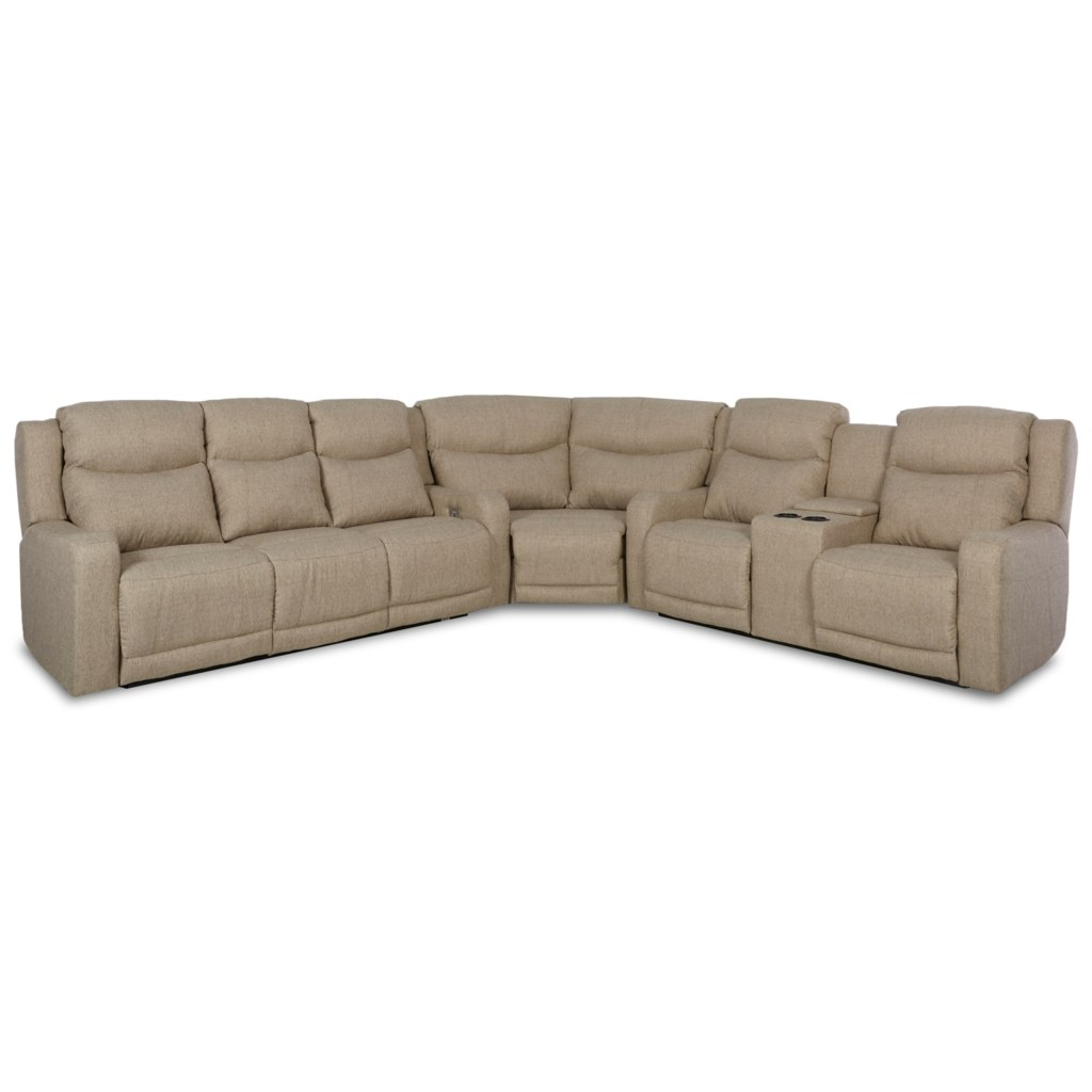 Klaussner Barnett Three Pc Power Reclining Sectional Sofa With