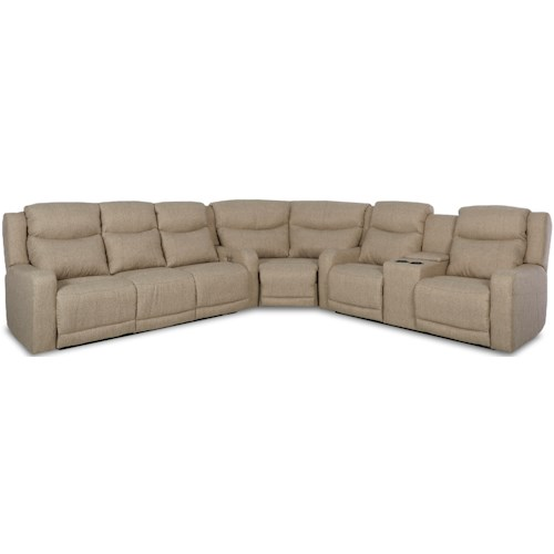 Klaussner Barnett Three Pc Power Reclining Sectional Sofa with Adjustable Headrests USB Ports