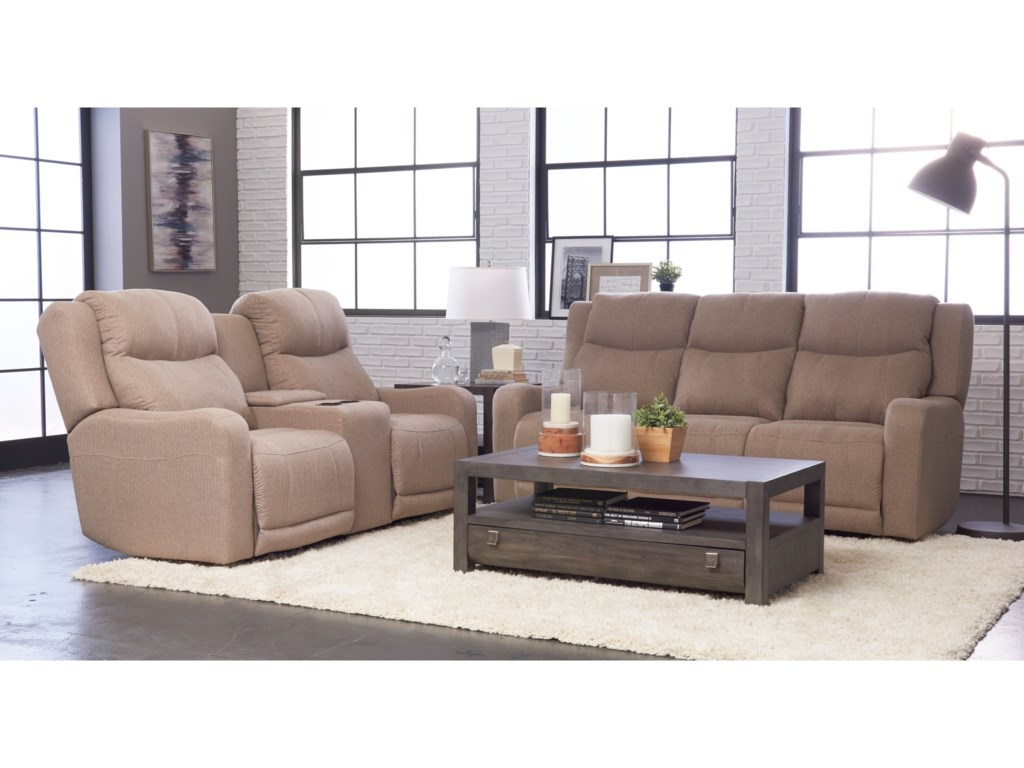 Klaussner BarnettPower Reclining Sofa w/ Pwr Headr and Lumbar