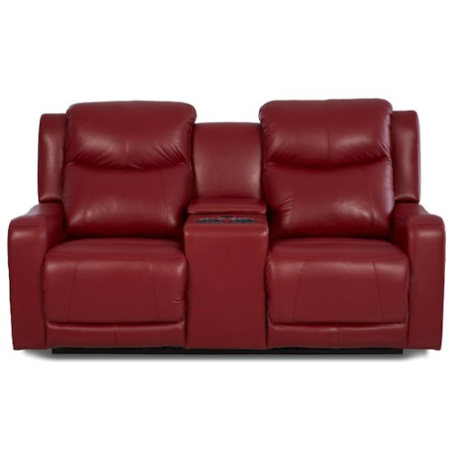 Klaussner Barnett Power Reclining Console Love with Power Headrest and Lumbar