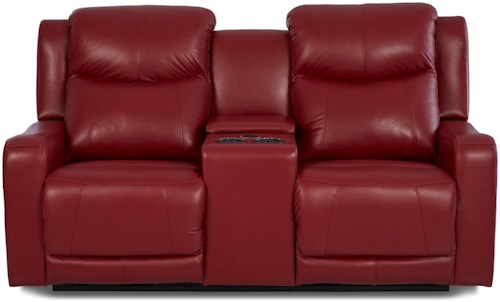 Klaussner Barnett Power Reclining Console Love with Power Headrest and USB Ports