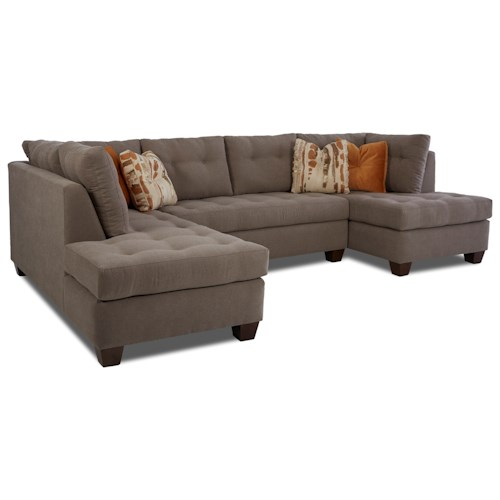 Klaussner Barton 3-Piece Sectional with Tufted Seats