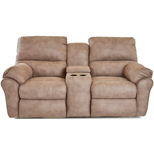 Klaussner Bateman Casual Reclining Loveseat with Cupholder Storage Console