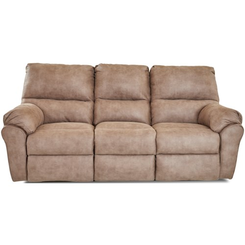 Klaussner Bateman Casual Reclining Sofa with 3 Recliners