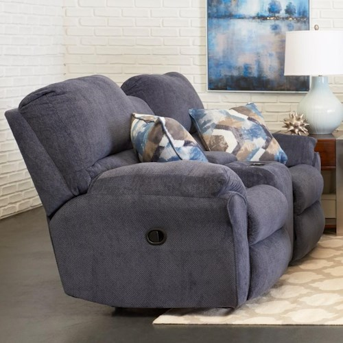 Klaussner Bateman Casual Reclining Loveseat with Cupholder Storage Console and Pillows