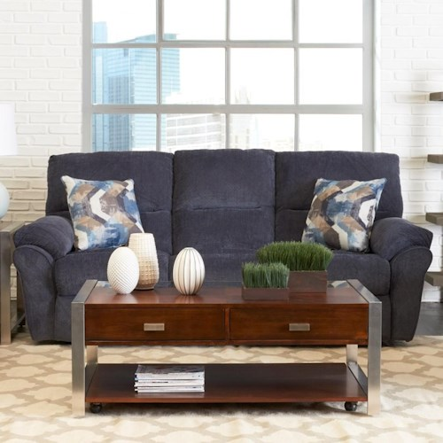 Klaussner Bateman Casual Reclining Sofa with 2 Power Chairs & 1 Manual Chair and Pillows