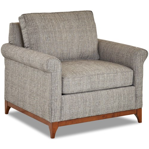 Klaussner Beason Transitional Chair with Exposed Wood Trim