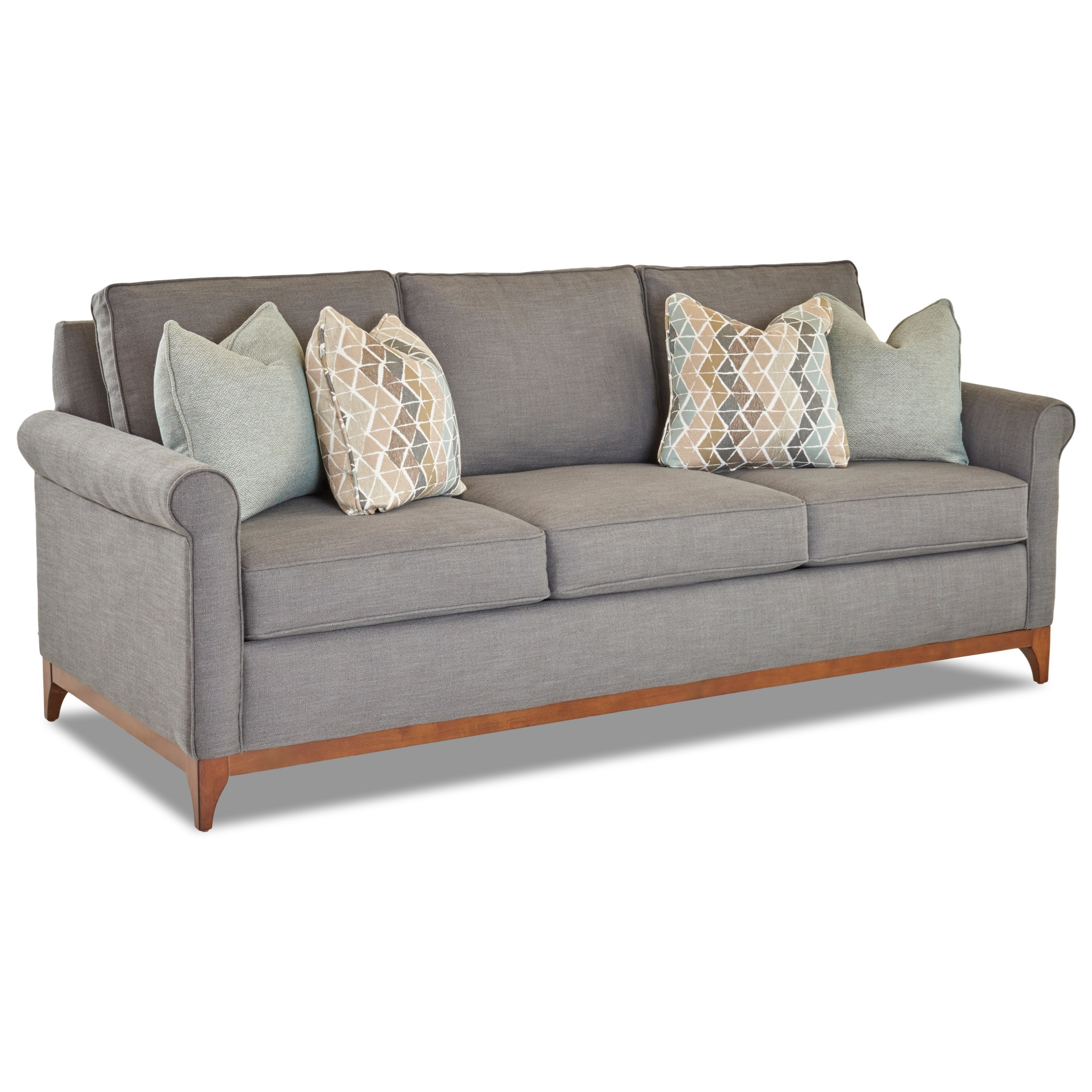 Klaussner Beason Transitional Sofa With Exposed Wood Trim