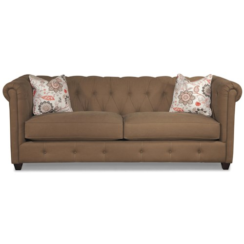 Klaussner Beech Mountain Traditional Chesterfield Sofa with Downblend Cushions
