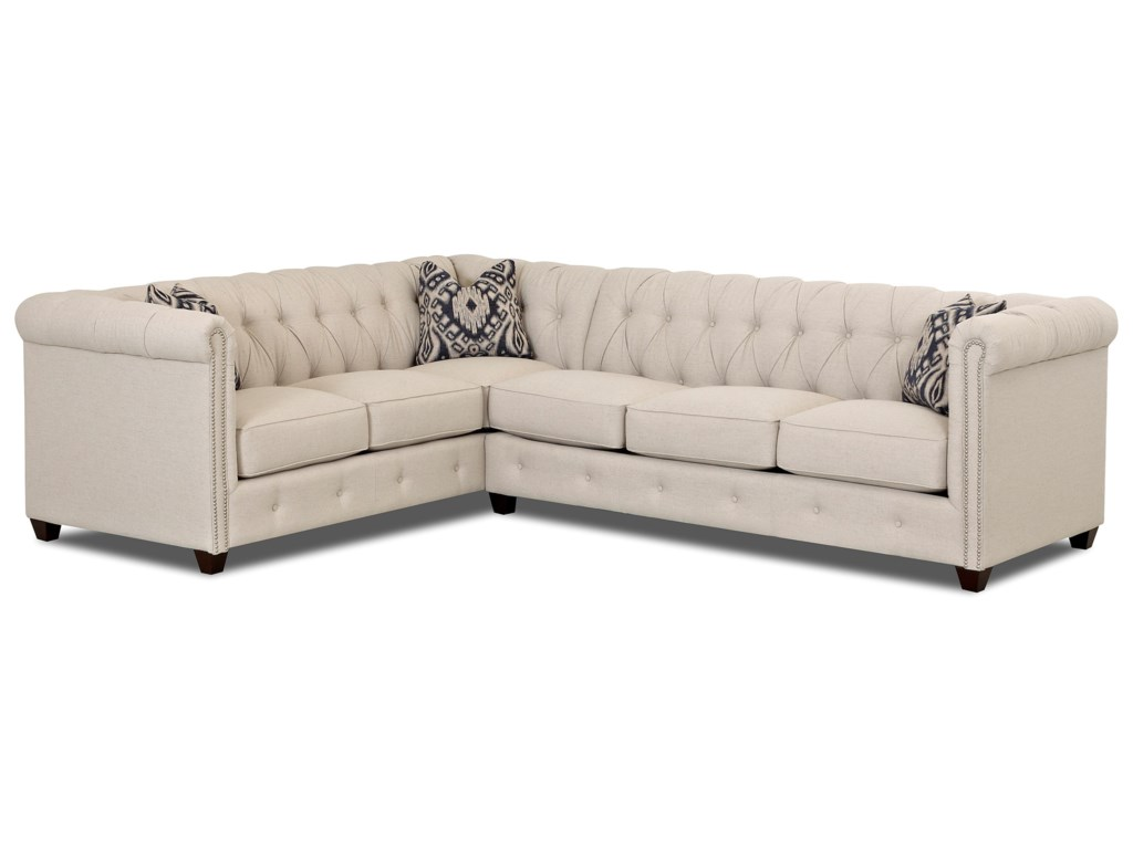 Klaussner Beech Mountain2-Piece Sectional with Nailhead Trim