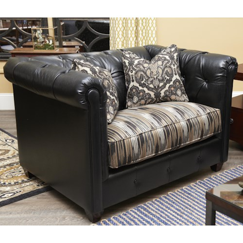 Klaussner Beech Mountain Traditional Big Chair with Rolled Arms and Tufting
