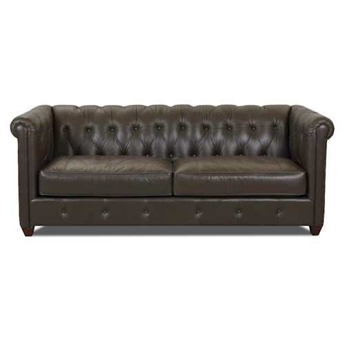 Klaussner Beech Mountain Traditional Chesterfield Sofa with Rolled Arms and Tufting