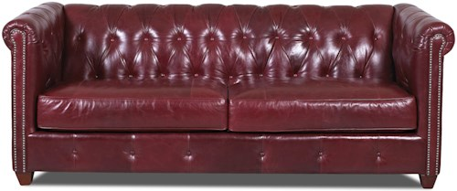 Klaussner Beech Mountain Traditional Chesterfield Sofa with Nailhead Trim and Down Blend Cushions