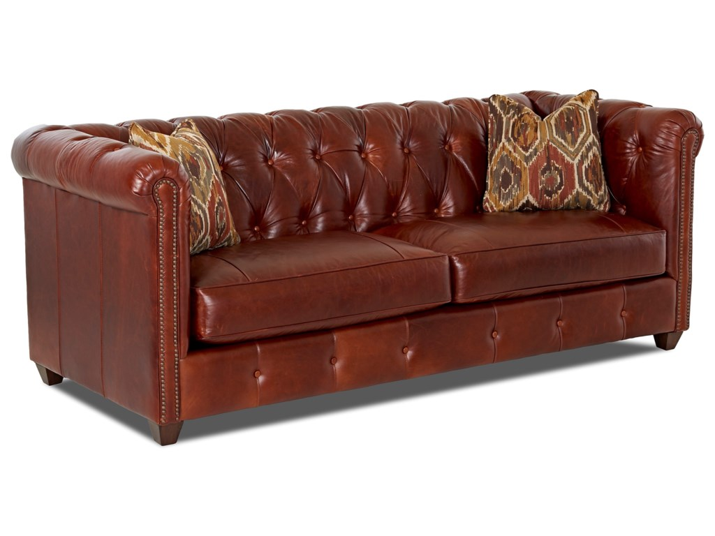 Klaussner Beech MountainTraditional Chesterfield Sofa w/ Nailheads